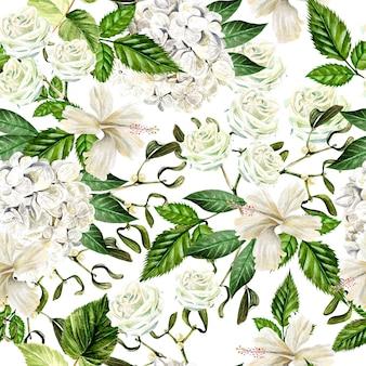 Bello reticolo senza giunte dell'acquerello con fiori di hudrangea, ibisco e rosa. illustrazione