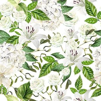 Bello reticolo senza giunte dell'acquerello con fiori di hudrangea, giglio e rosa. illustrazione