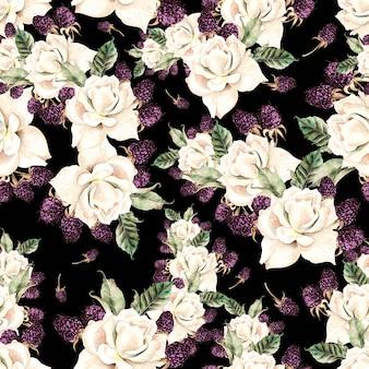 Bello reticolo senza giunte dell'acquerello con fiori di rosa e bacche. illustrazione