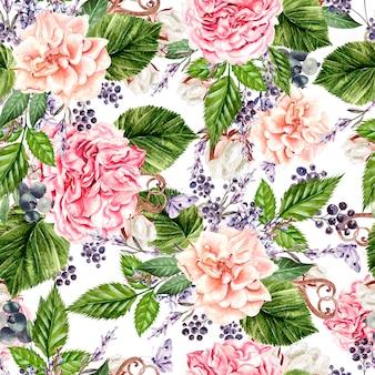 Bellissimo motivo ad acquerello senza cuciture con fiori di rosa, peonia, lavanda e cotone. illustrazione