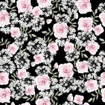 Bello modello senza cuciture dell'acquerello con i fiori e le foglie delle rose illustrazione