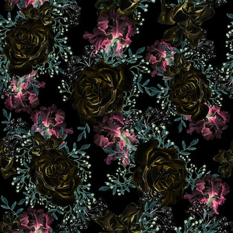 Bellissimo motivo ad acquerello senza cuciture con rose e fiori di iris illustrazione