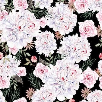 Bellissimo motivo ad acquerello senza cuciture con rose e fiori di peonia illustrazione