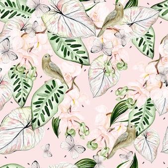 Bello reticolo senza giunte dell'acquerello con foglie tropicali, fiori di orchidee, uccelli e farfalle. illustrazione
