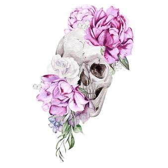 Bellissimo teschio acquerello con fiori di peonia e rose. illustrazione
