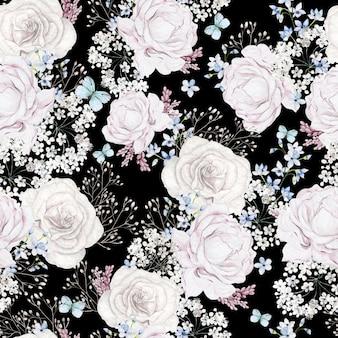 Bellissimo acquerello con motivo a fiori di rose su sfondo nero