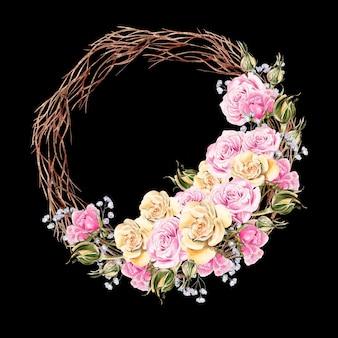 Bella corona dell'acquerello con fiori e boccioli di rose. carta di matrimonio.