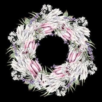 Bellissima corona ad acquerello con fiori bianchi di forma rotonda su sfondo nero