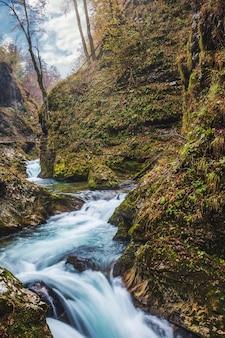 Bella cascata e via di legno nella gola di vintgar, famosa destinazione turistica in slovenia