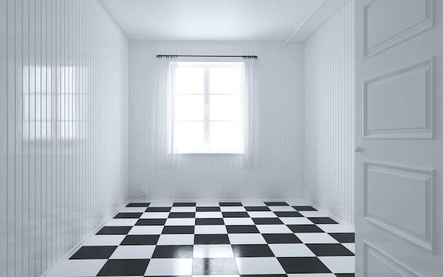 Bella camera bianca e luminosa con luce del sole che passa attraverso, stile vintage
