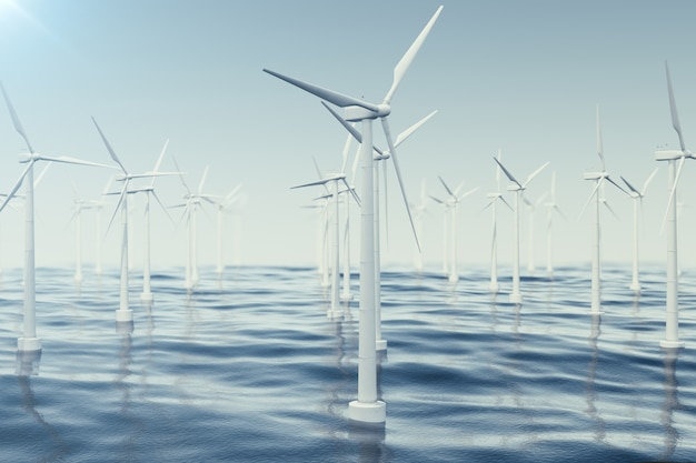 Belle le turbine eoliche in mare, oceano. energia pulita, energia eolica, concetto ecologico. rendering 3d