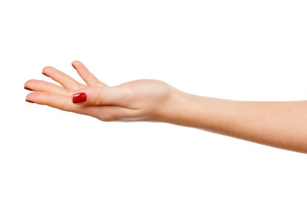 Bella tenuta del segno della mano della donna isolata su bianco