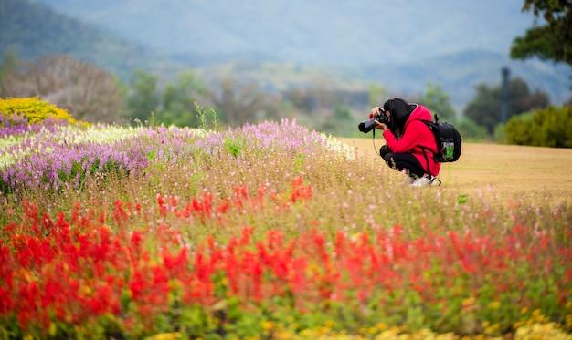 Bella donna scattare fotografie di fiori in un giardino di primavera
