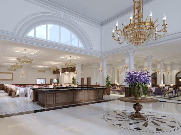 Bella reception in legno al centro della spaziosa lobby in stile classico. rendering 3d