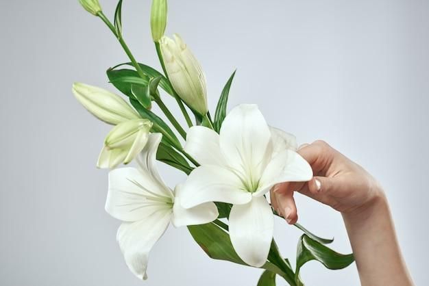 Bella mano della giovane donna con la posa del fiore