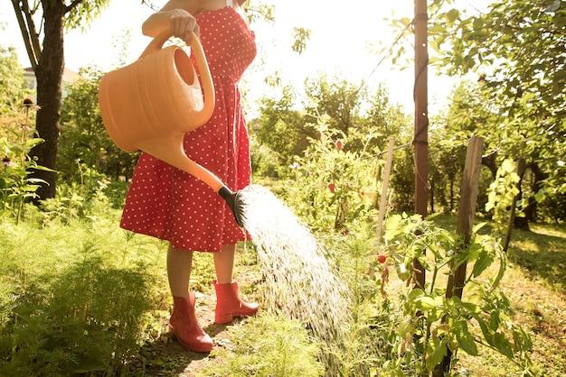 Una bella giovane donna in un abito vintage che innaffia le piante del giardino.