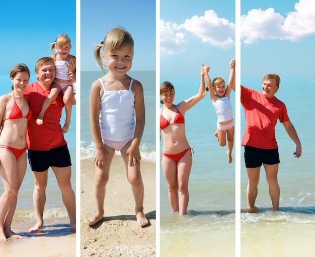 Famiglia di bellezza sulla spiaggia del mare sotto il cielo