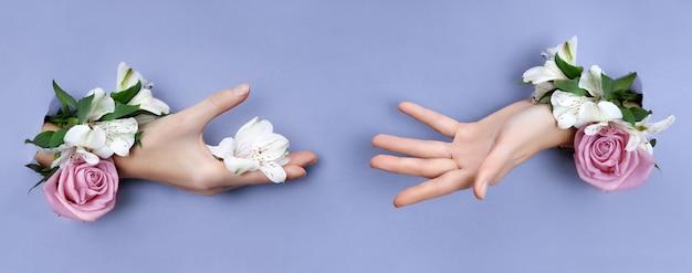 Mano di bellezza con fiori in un buco in una carta viola