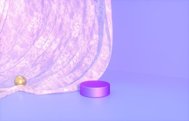 Podio di bellezza per l'esposizione del prodotto con rendering 3d tenda di pizzo viola