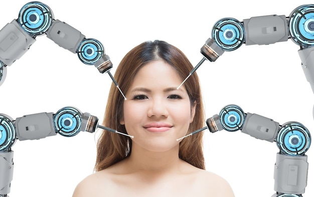 Concetto di tecnologia di bellezza con braccia robotiche di rendering 3d sul viso di donna