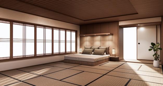 Design giapponese della camera da letto sull'interno della camera tropicale e sul pavimento in tatami