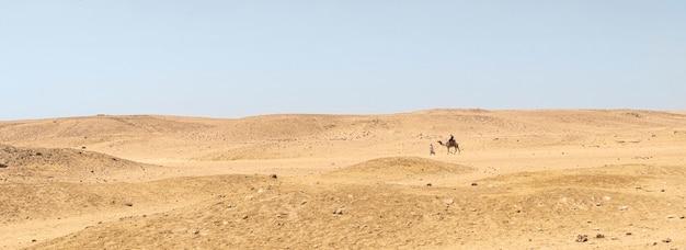Un beduino conduce un cammello nel deserto.