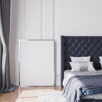 Interior design della camera da letto con moderni tavolini d'argento
