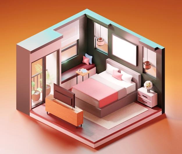 Scena isometrica interna della camera da letto. illustrazione 3d