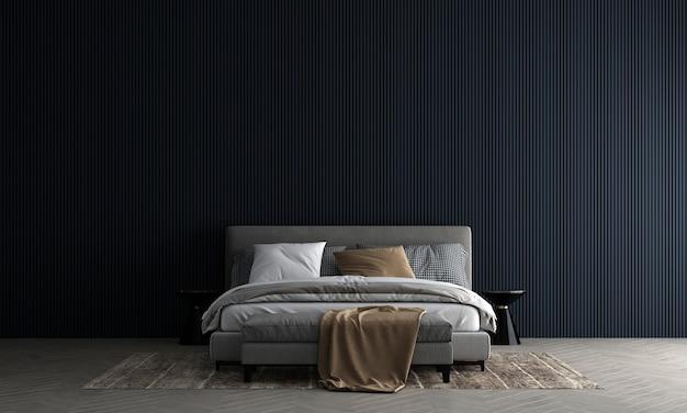 La parete interna della camera da letto si modella in neutri caldi con decorazioni in stile accogliente su sfondo blu vuoto