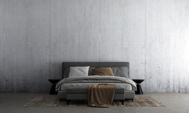 La parete interna della camera da letto si simula in caldi neutri con decorazioni in stile accogliente su sfondo vuoto del muro di cemento
