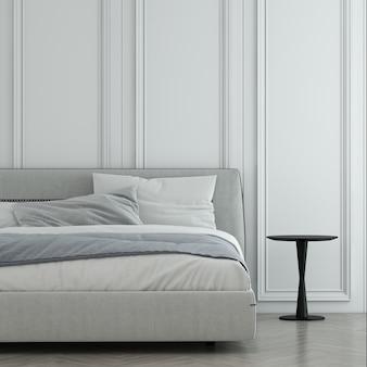 Sfondo del modello interno e parete bianca della camera da letto