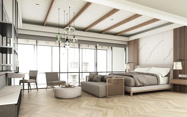 La camera da letto è decorata in uno stile moderno con toni di legno con posti a sedere e letto e decorazione della parete. con ampie finestre e soffitti alti su pavimenti in parquet.