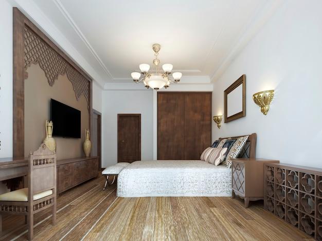 Camera da letto in stile arabo mediorientale con lussuosi intagli in legno e un grande letto con testiera in legno. rendering 3d