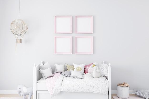 Mockup di camera da letto mockup di cornice per bambini