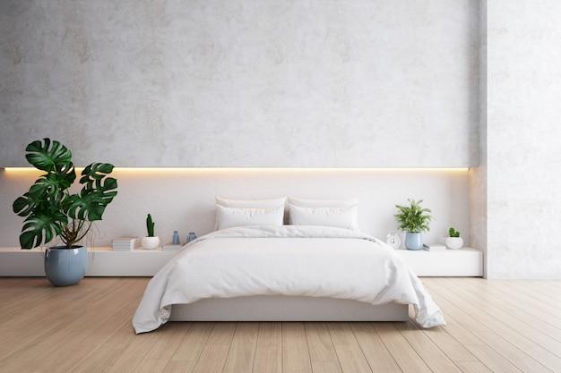 Camera da letto e stile moderno del sottotetto., concetto minimalista accogliente della stanza bianca e grigia, letto con il pavimento di legno e parete bianca, rappresentazione 3d