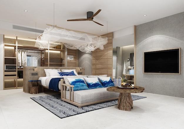 Resort con camere da letto con mobili in legno e pavimento in piastrelle bianche. rendering 3d