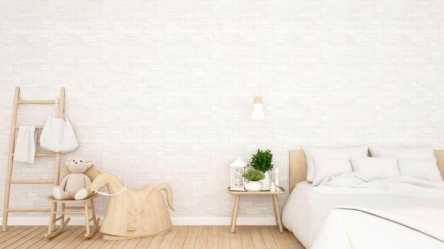 Camera da letto e muro di mattoni bianchi decorano in casa o appartamento