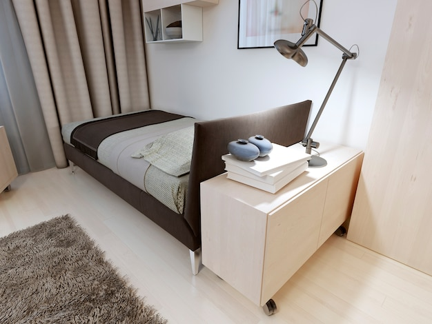 Camera da letto con mobili rigorosi e letto nero con coperta e cuscino con comodino,