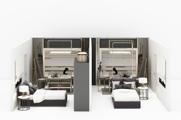 Camera da letto con la passeggiata nella decorazione dei gioielli dell'armadio nello stile di lusso moderno e nella rappresentazione grigia della mobilia 3d di tono