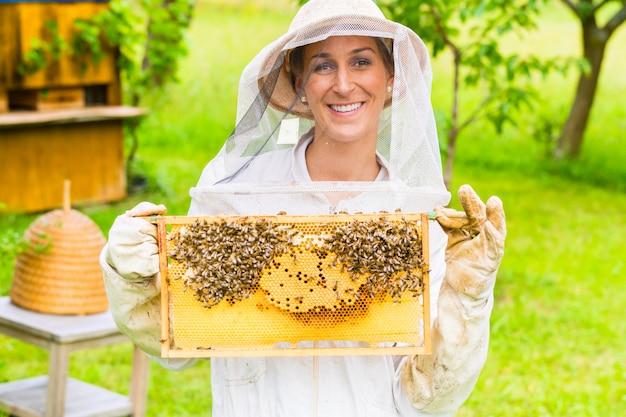 Apicoltore che controlla beeyard e api