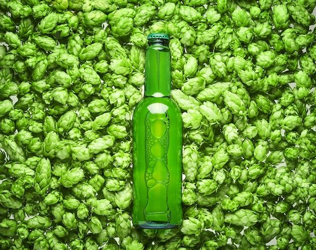 La bottiglia di birra si trova sui coni di luppolo, primi piani.