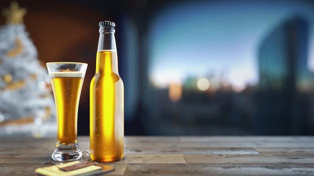 Bottiglia di birra mokcup