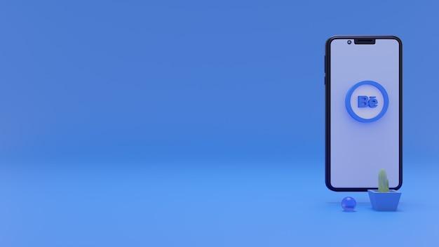 Behance logo 3d social media con simbolo smartphone 3d concept