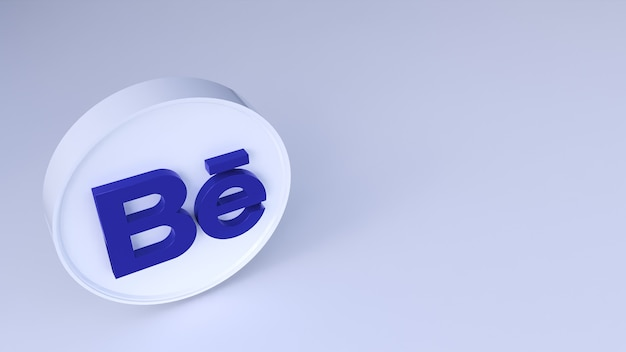 Behance logo minimal design semplice. copia spazio 3d rendering