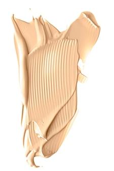 Texture cosmetica di bellezza beige isolata su fondo bianco sbavato crema emulsione trucco striscio o fo...