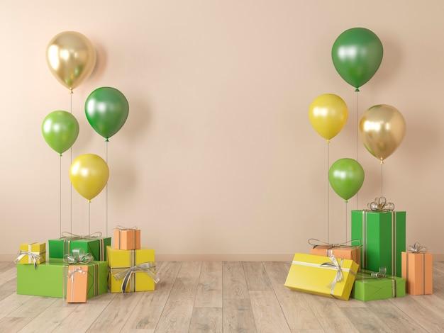 Muro bianco beige, interni colorati con regali, regali, palloncini per feste, compleanni, eventi. 3d render illustrazione, mockup.