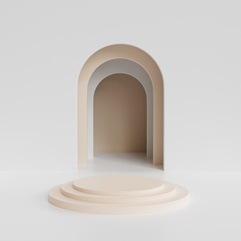 Podio cilindro beige o piedistallo per prodotti o pubblicità vicino all'ingresso vuoto bianco. rendering 3d minimo.