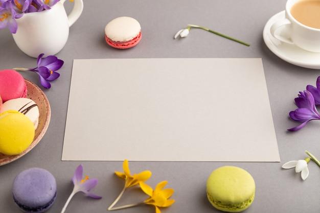 Modello di foglio di carta beige con fiori di croco bucaneve e amaretti su sfondo grigio pastello.