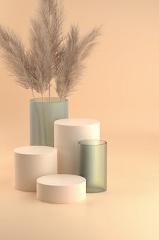 Piedistalli cilindro beige pastello e vasi in vetro con foglie