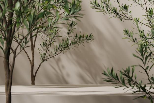 Piattaforma beige sulla scena del mockup, piante blu in primo piano e ombra delle piante sullo sfondo, sfondo astratto per la presentazione del prodotto o annunci. rendering 3d